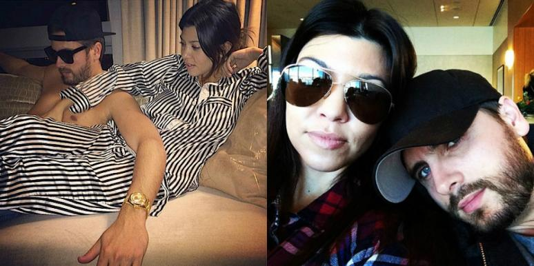 Kourtney Kardashian in striped pajamas and Scott Disick shirtless on a couch, Kourtney Kardashian Scott Disick breakup, Kourtney Kardashian Scott Disick split, Scott Disick, Scott Disick Kourtney Kardashian