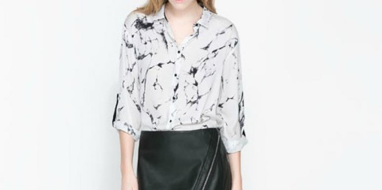 Zara Faux Leather Mini Skirt with a Zip