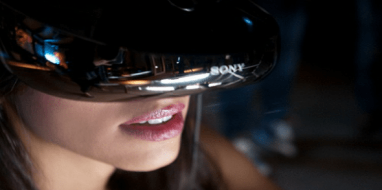 Woman wearing a VR headset.