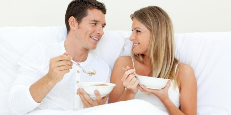 couple eating cereal