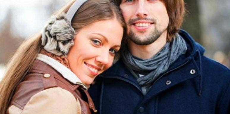 happy winter couple