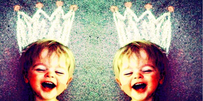 Toddler with chalk crown