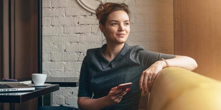 woman sitting thinking