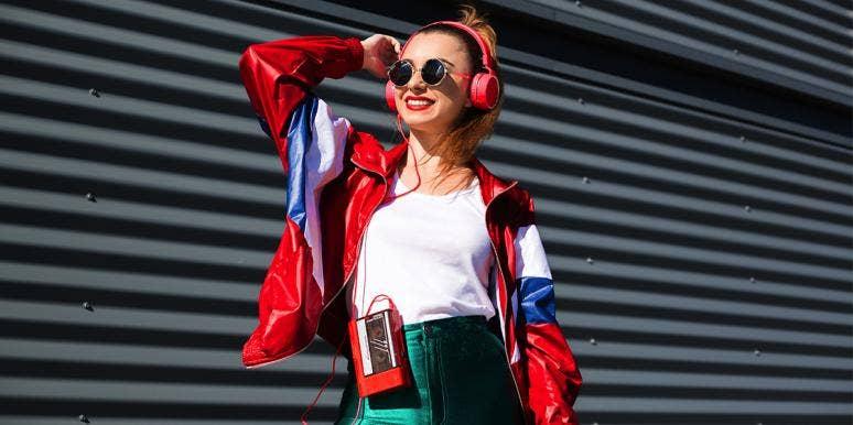 80s girl style listening to music headphones cassette player
