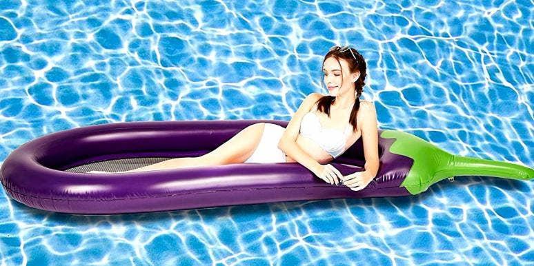 eggplant emoji pool float