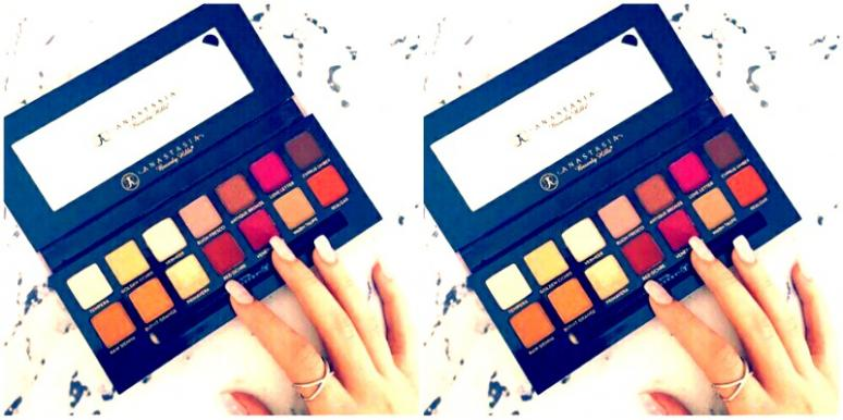Girl playing with makeup palette
