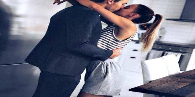 Cute couple kissing.