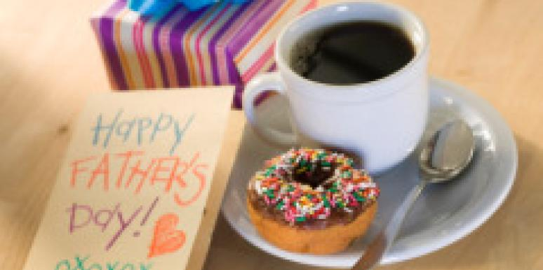 Happy Father's Day card with coffee donut and gift