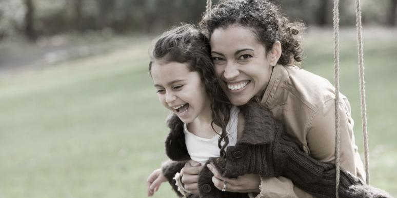 happy woman with little girl