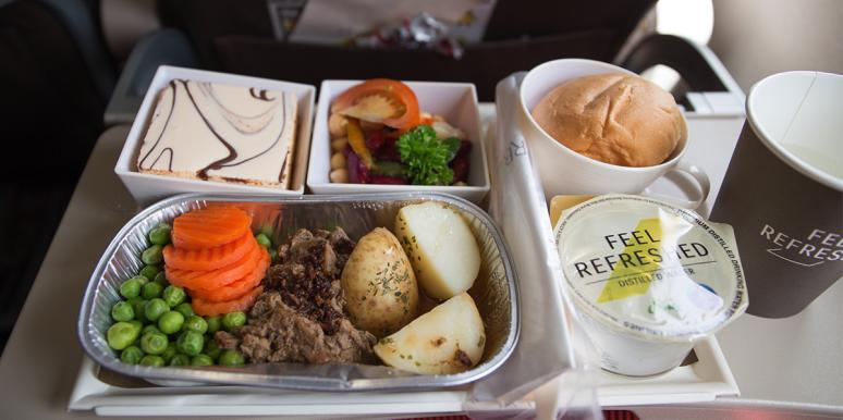 Airplane meal in an airplane