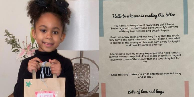 Amaya Thompson, 5, with her 'bag of love' and the letter included in the bags