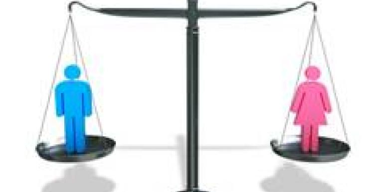 man and woman on balance scale
