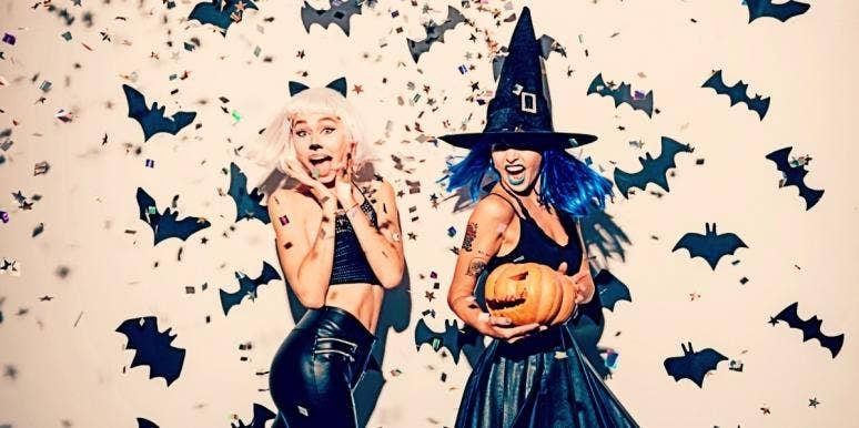 two badass women in Halloween costumes