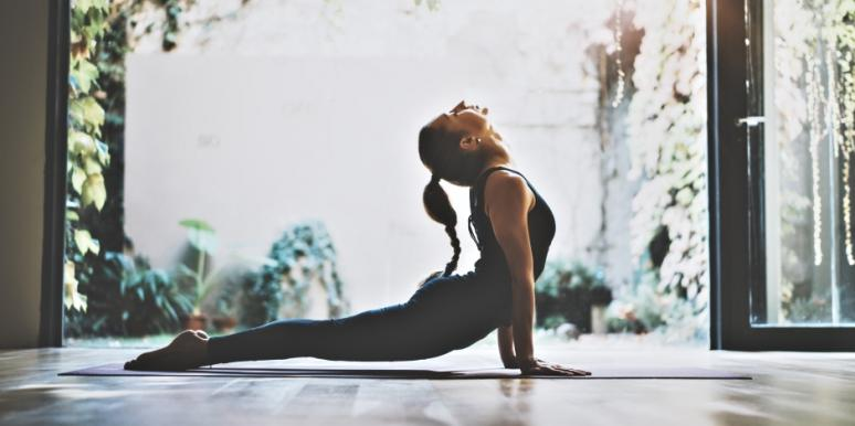 woman doing stretches before bed