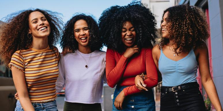 group of black women with natural hair