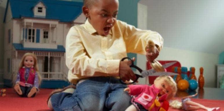 kid boy doll cut hair dollhouse playroom angry tantrum