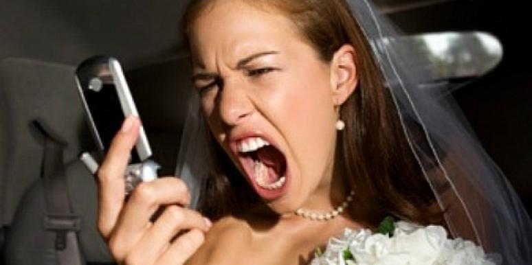 Bride yelling into phone