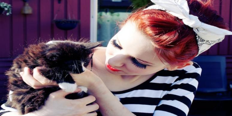 woman with kitten