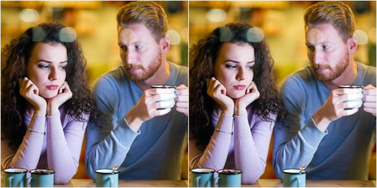mirror image of man and woman at cafe