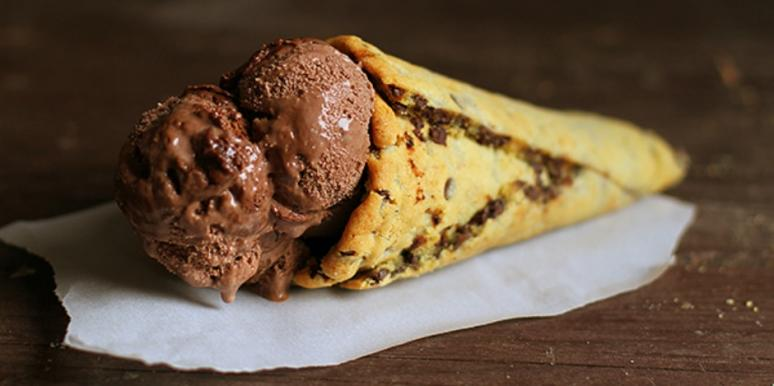 chocolate chip cookie cone