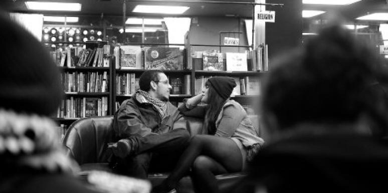 couple talking in the library