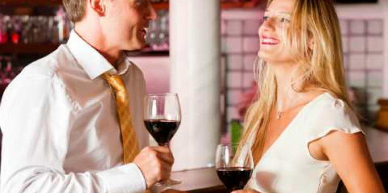 couple wine in bar