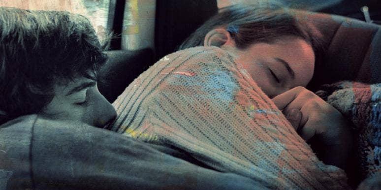 couple cuddling together