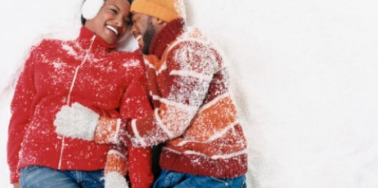 couple snow holidays winter