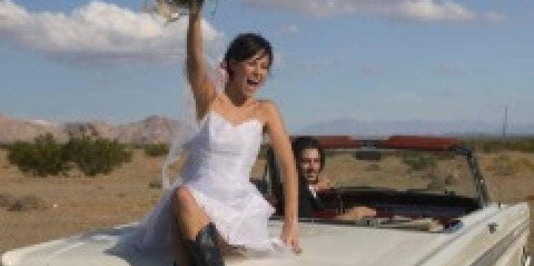 Bride on car