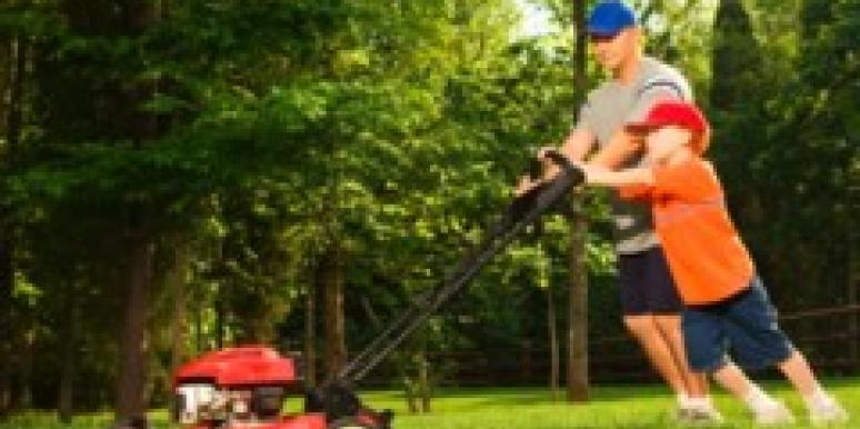 daw mowing lawn with son