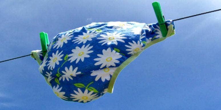 Daisy-printed underwear on a clothesline