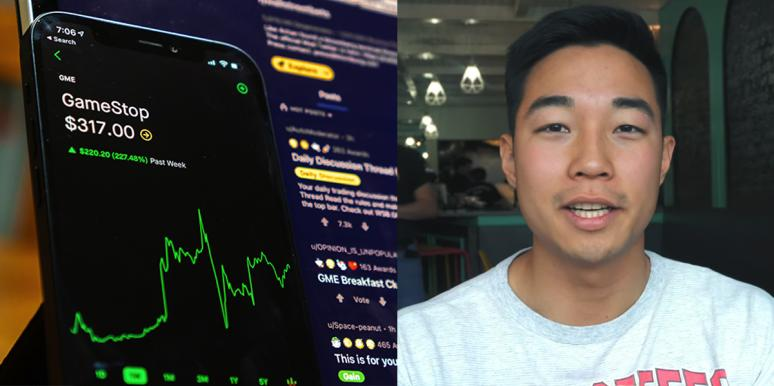 Stock market graph on phone and Danny Kim