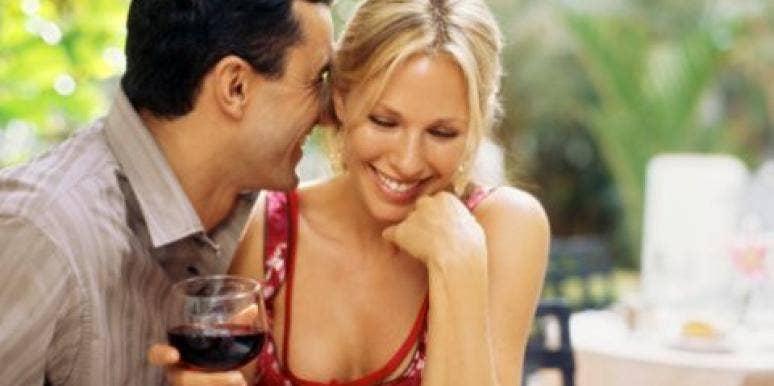 couple flirting on date