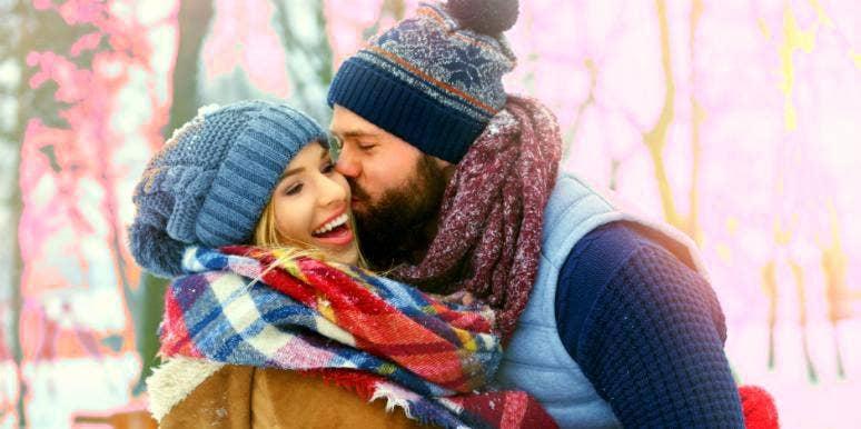 happy couple snow