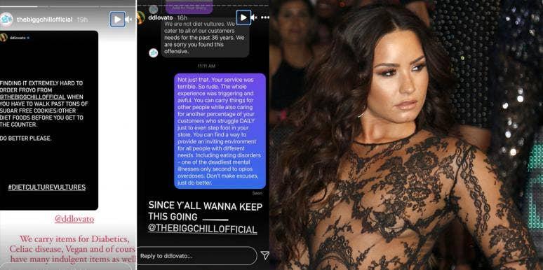Demi Lovato and her Instagram stories to The Bigg Chill frozen yogurt shop