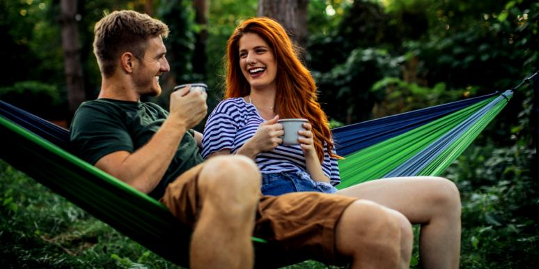 friends with benefits sitting in hammock together