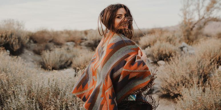 woman outside blanket
