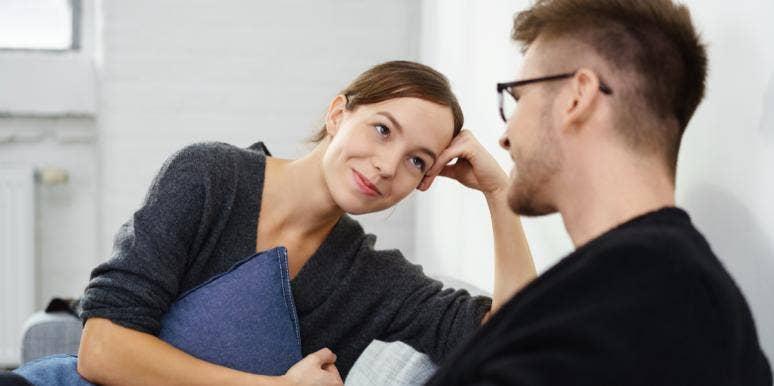 woman and man talking