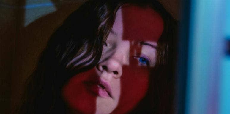 sad woman in the dark