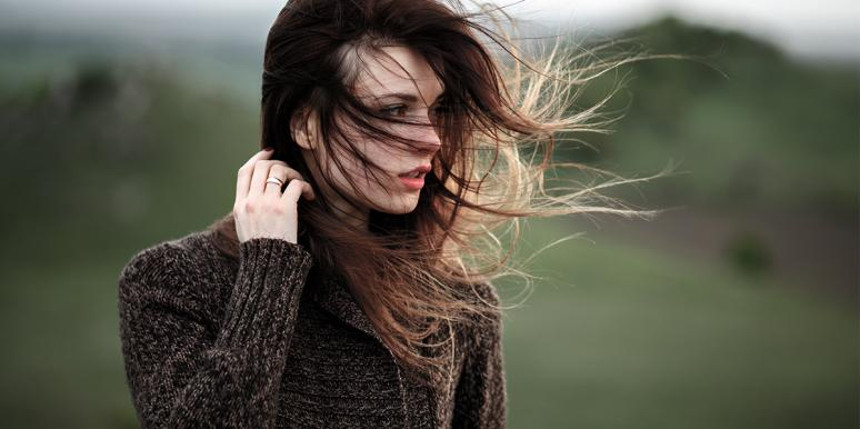 woman with hair in the wind