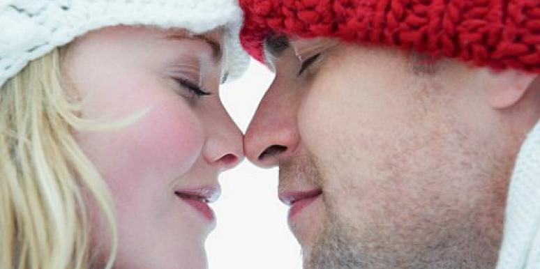 eskimo kiss couple rub noses