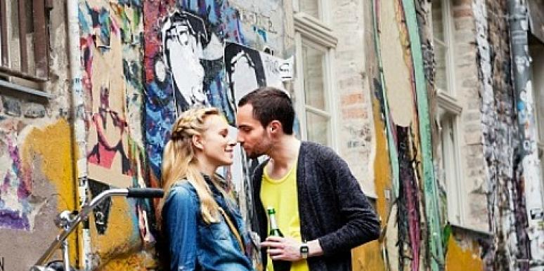 couple kissing in europe