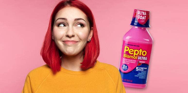 woman with pepto bismol