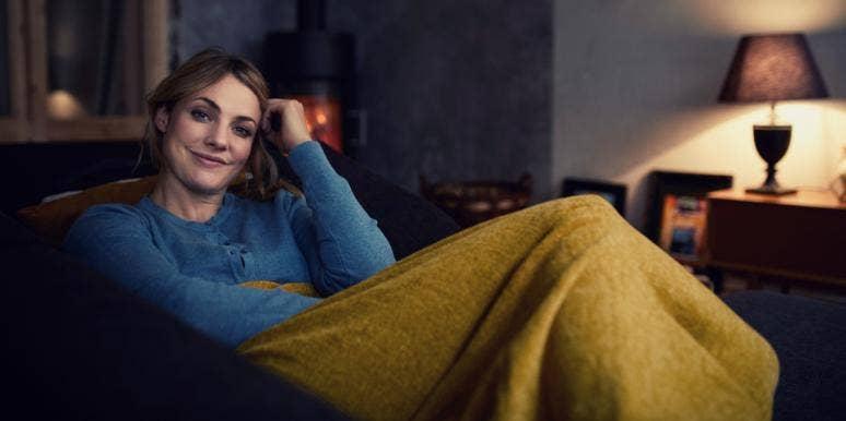 smiling woman relaxing