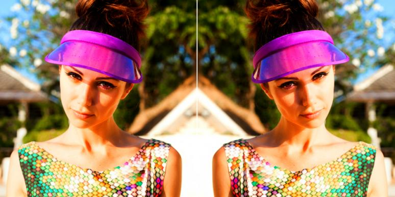 mirror images of woman in bright purple visor