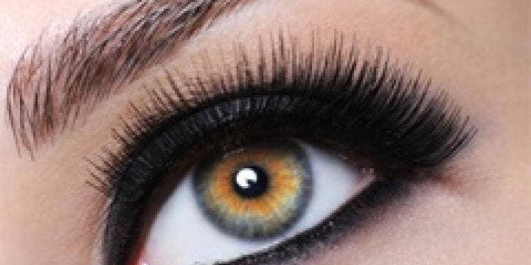 eye with fake eyelashes