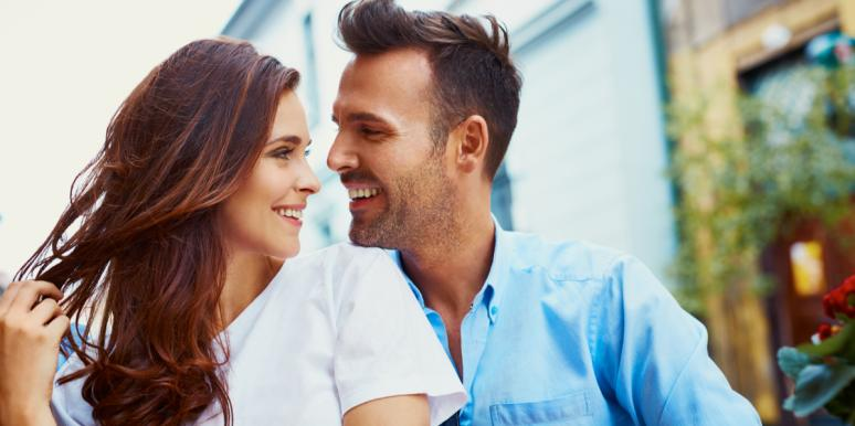 man and woman making eye contact