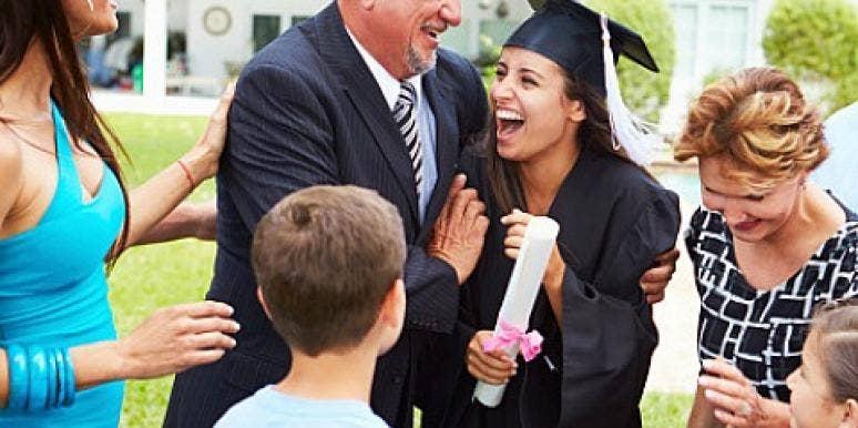 family celebrates woman's graduation