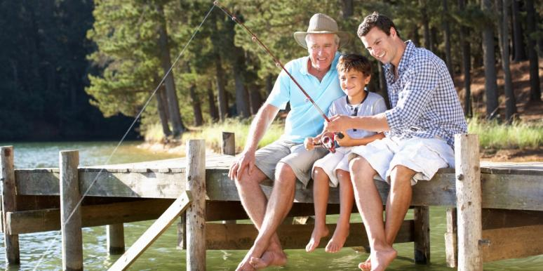 father, son, and grandfather fishing