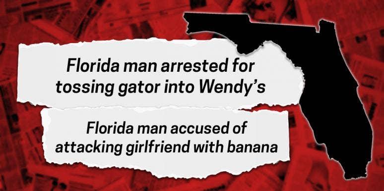 Florida Man headlines over the map of Florida
